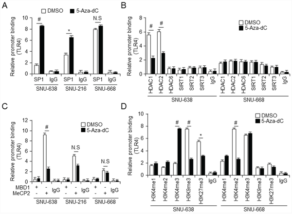 Relative relationship between Sp1 and MeCP2 binding to TLR4 promoter
