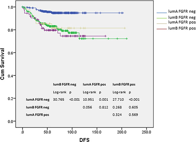 Kaplan-Meier analysis of DFS according to luminal subtypes and FGFR1 expression.