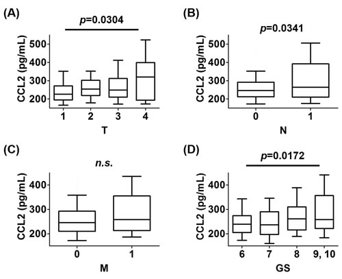 The prevalence of CCL2 values in each stage of TNM and GS.