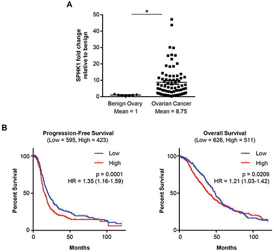 Figure 1. High SPHK1 expression is associated with reduced survival of patients with HGSC.