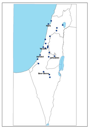 Location of the clinics in different geographic parts in Israel.