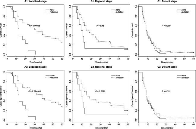 Survival curves in patients according to radiation therapy based on different disease stages.