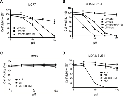 LTV-fused BR peptide decreases cell viability in breast cancer cells.