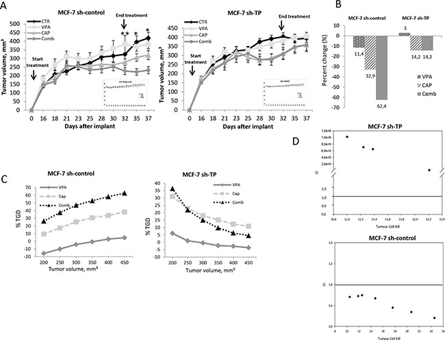 Synergistic antitumor effect induced by VPA/capecitabine combination in vivo strictly depends on TP modulation.