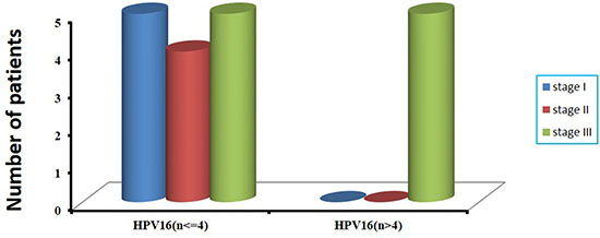 The correlation of number of integrated sites with clinical stages in 19 HPV16-positive cervical cancer samples.