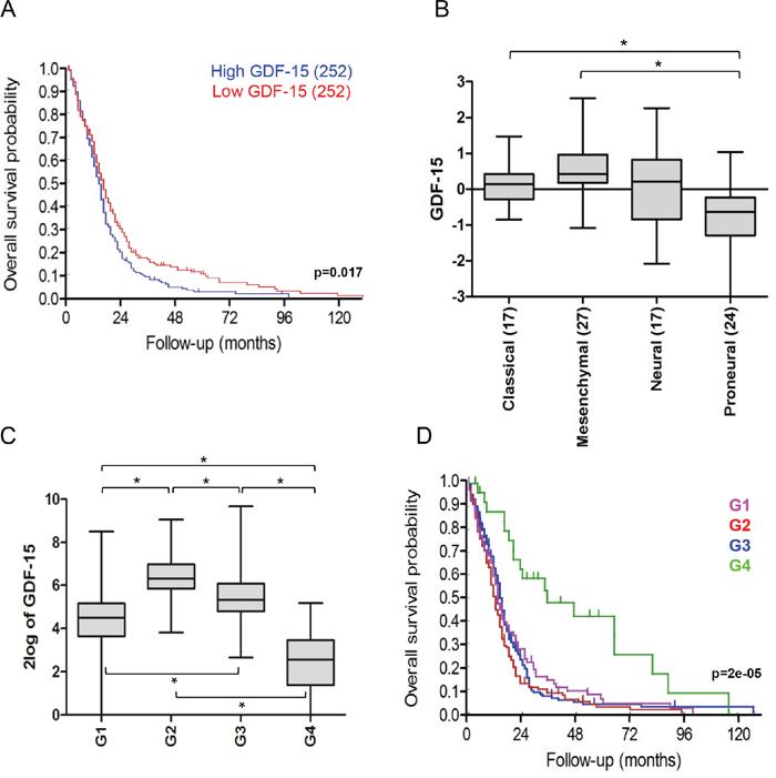 Low GDF-15 expression correlates with better outcome in glioblastoma.