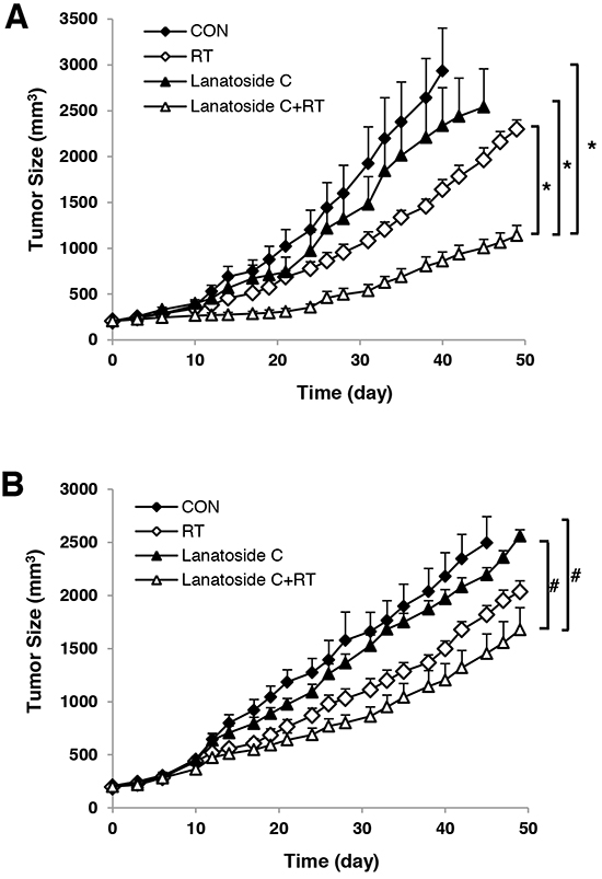 Lanatoside C improved radiation-induced tumor growth delay in vivo.