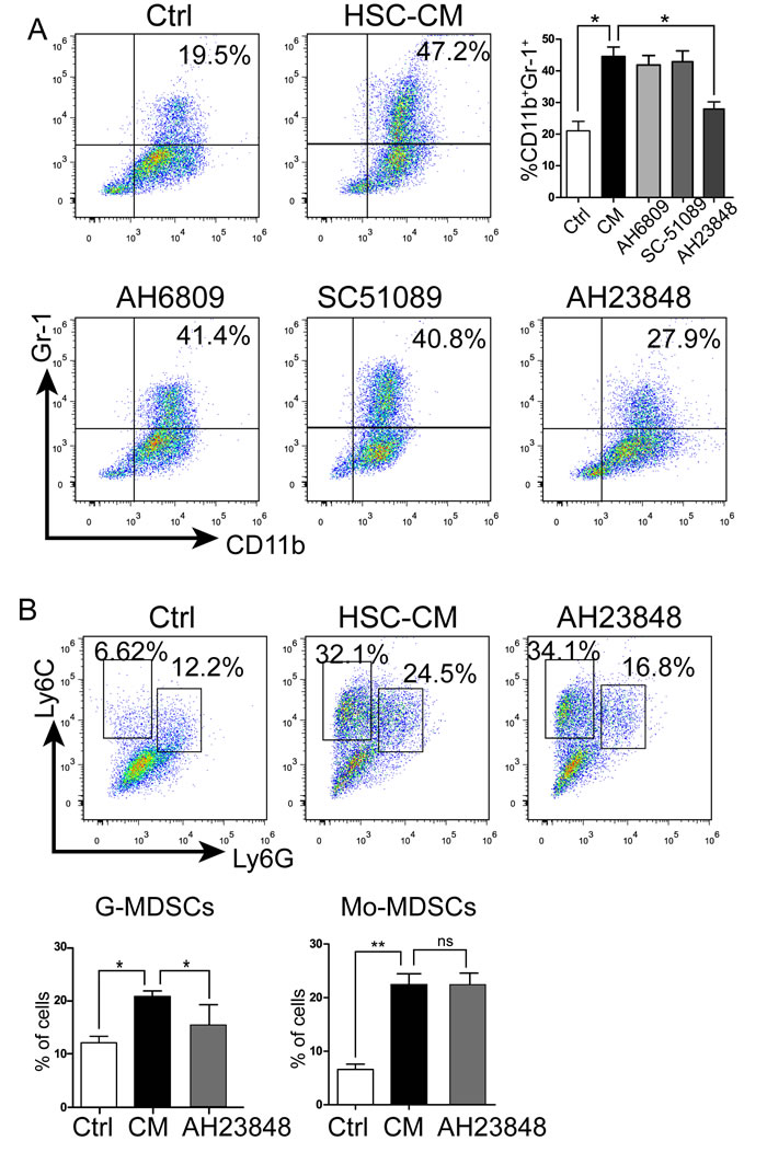 HSCs promoted MDSC accumulation via the EP4 receptor.