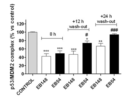 Levels of p53/MDM2 complex in U87MG whole cells.