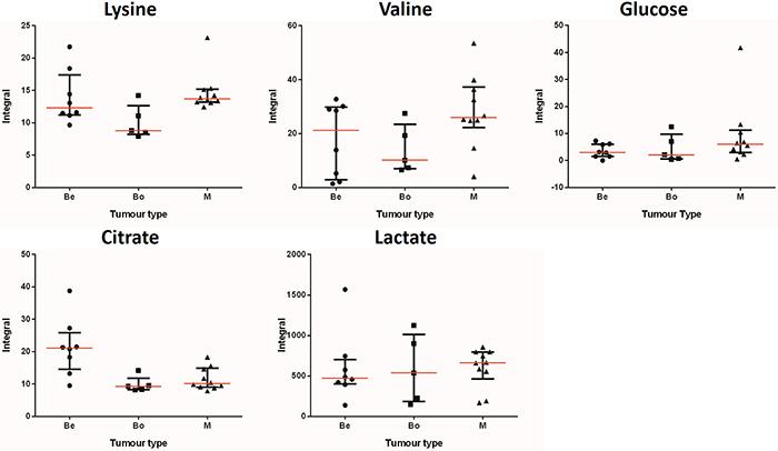 Integral values, medians and median range of key metabolites: