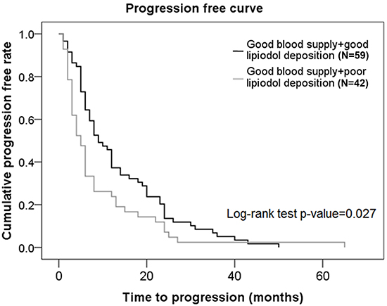 Progression-free curves in subjects from the good blood supply group who had different degrees of lipiodol deposition.