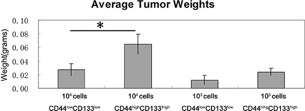 Tumor weights in CD44high/CD133high and CD44low/CD133low populations.