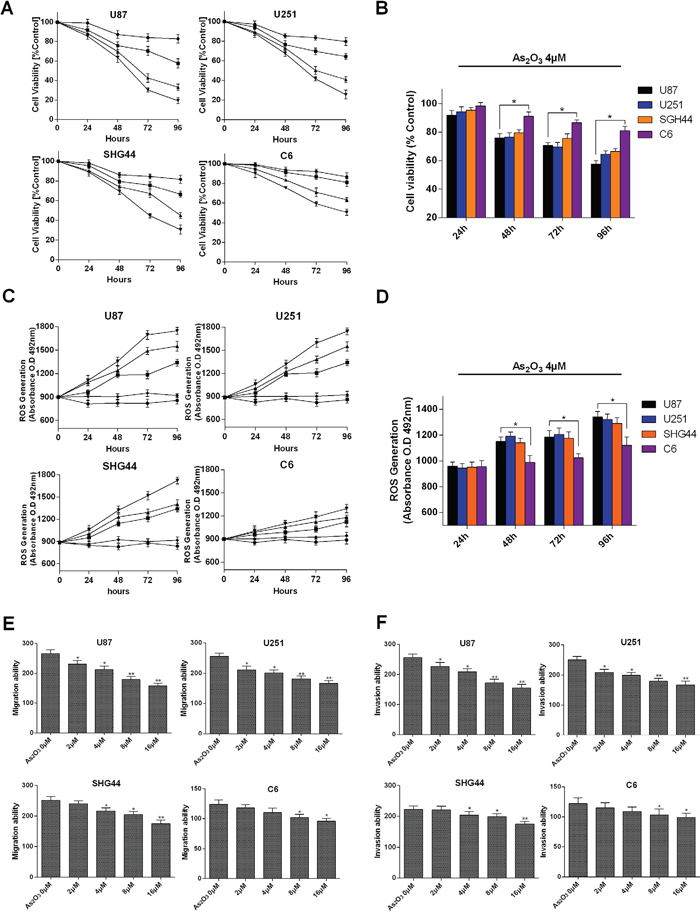 Growth suppression and ROS generation induced by As2O3 in glioma cells.