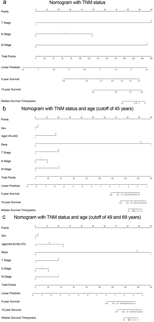 Medullary thyroid cancer-specific survival Nomograms (To use the nomogram, an individual patient's value is located on each variable axis, and a line is drawn upward to determine the number of points received for each variable value.