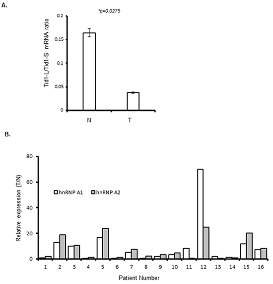 Quantitative (q)RT-PCR analysis of Tid1 isoforms, hnRNP A1, and hnRNP A2 in NSCLC tissues.