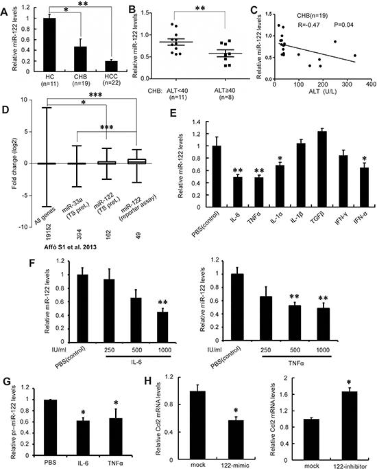 Major inflammatory cytokines in CHB suppress miR-122.