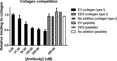 Fc-scFv's compete with collagen type I for binding to MT1-MMP whereas binding of collagen peptide is unaffected.