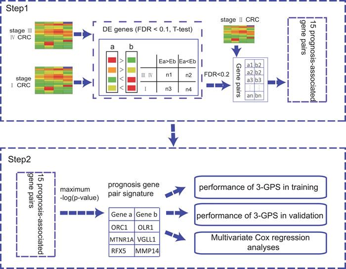 The flowchart for the development of the rank-based prognostic GPS.
