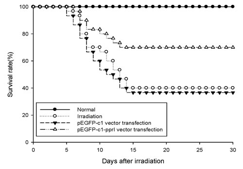 PprI expression increased survival rate of irradiated mice.