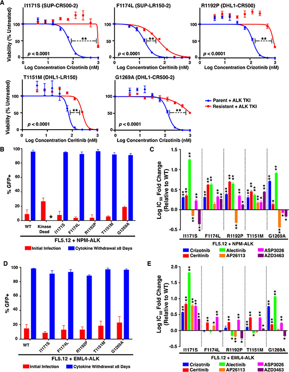 Resistance profiles of ALK mutations against six ALK TKIs.