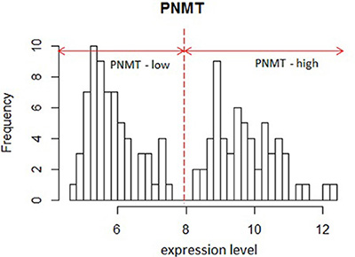 Histogram of PNMT expression in GSE19987.