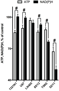 Comparison of the SP-induced changes in viabilities of glioblastoma cells, as determined by assays dependent on ATP (CellTiterGlo) or NAD(P)H (CellTtiterBlue).