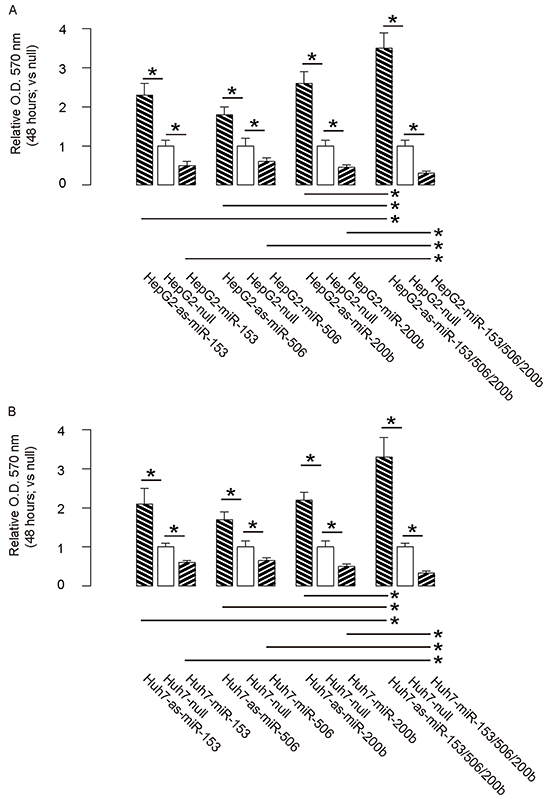MiR-153, miR-506 and miR-200b overexpression inhibits HCC cell growth.