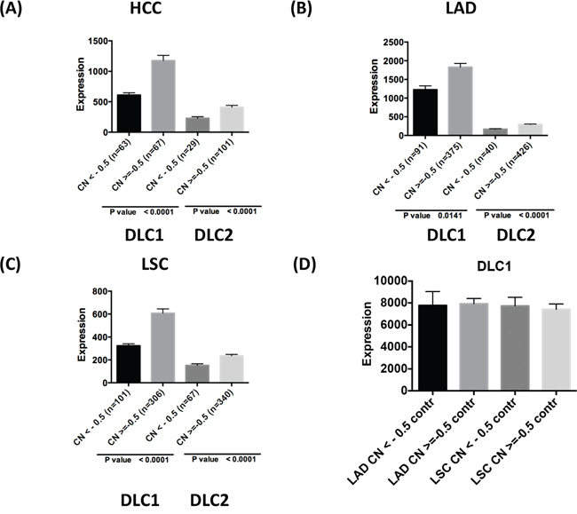 DLC copy number variation and gene expression in tumors.