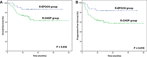 Survival outcomes in the R-EPOCH and R-CHOP groups according to the Ki-67 expression status.