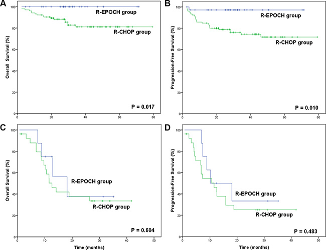 Survival outcomes in the R-EPOCH and R-CHOP groups according to the International Prognostic Index (IPI).