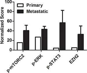 Normalized scoring of protein expression in metastatic tissue compared to primary tumor.