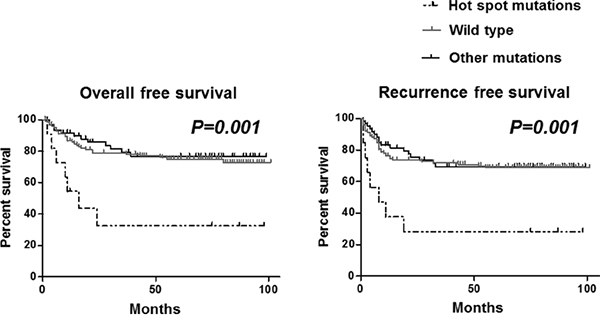 Association between TP53 mutation and overall survival (left) and recurrence free survival (right) in GC patients.