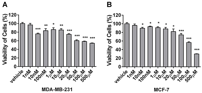 Berberine inhibits the proliferation of MDA-MB-231 and MCF-7 cells.
