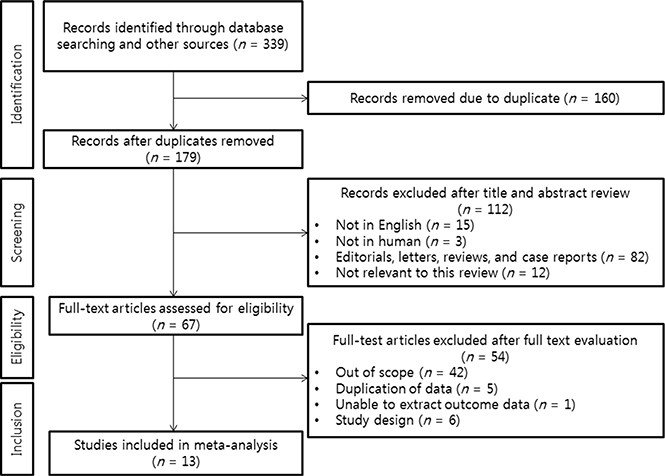 PRISMA statement flow diagram illustrating the search strategy used for the network meta-analysis.