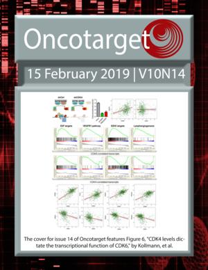 Journal Cover for Oncotarget V10N14