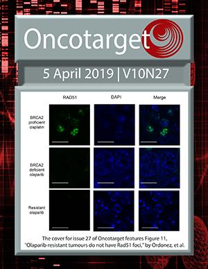 Journal Cover for Oncotarget V10N27