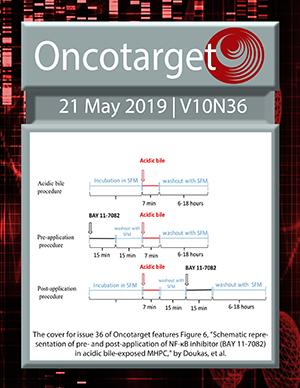 Journal Cover for Oncotarget V10N36