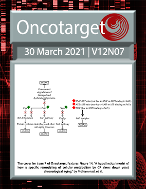Cover for Oncotarget Issue V12N7