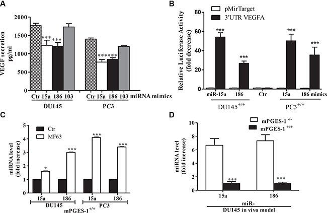 mPGES-1 down-regulates miR-15a and miR-186 upstream of VEGF expression.