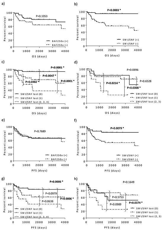 Kaplan-Meier curves for overall (a-d) and progression-free survival (e-h) based on BAF250a status and SWI/SNF complex expression.