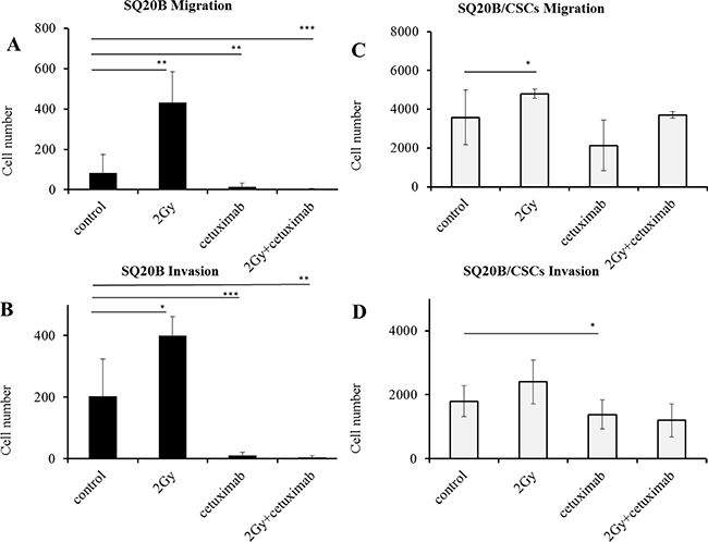 Influence of photon radiation and/or cetuximab on migration and invasion abilities of SQ20B parental cells and their SQ20B/CSCs subpopulation.
