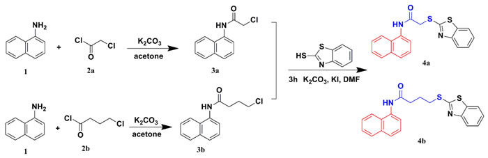 Synthetic routes of compounds 4a and 4b.