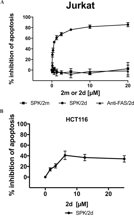 Divalent TRAILmim/DR5 inhibits SPK mediated Jurkat and HCT116 cells apoptosis.