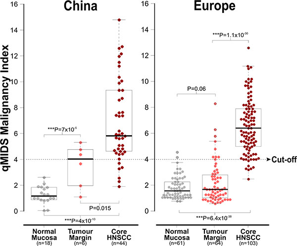 Comparison of qMIDS scores between Chinese and European head and neck tissue samples.