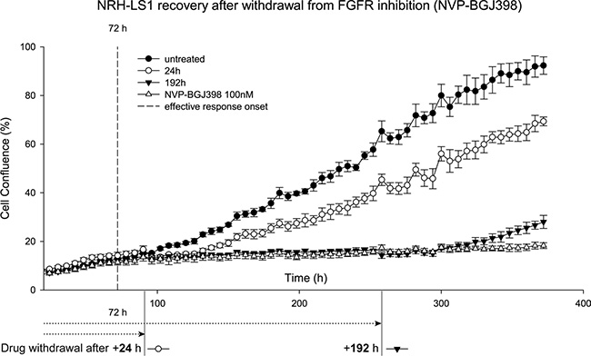 NRH-LS1 cells resume proliferation after withdrawal from treatment with NVP-BGJ398.