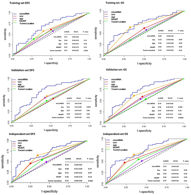 ROC analysis of the sensitivity and specificity for prediction of DFS and OS by the seven-miRNA signature, sex, age, MGMT, and tumor location in patients with GBM.