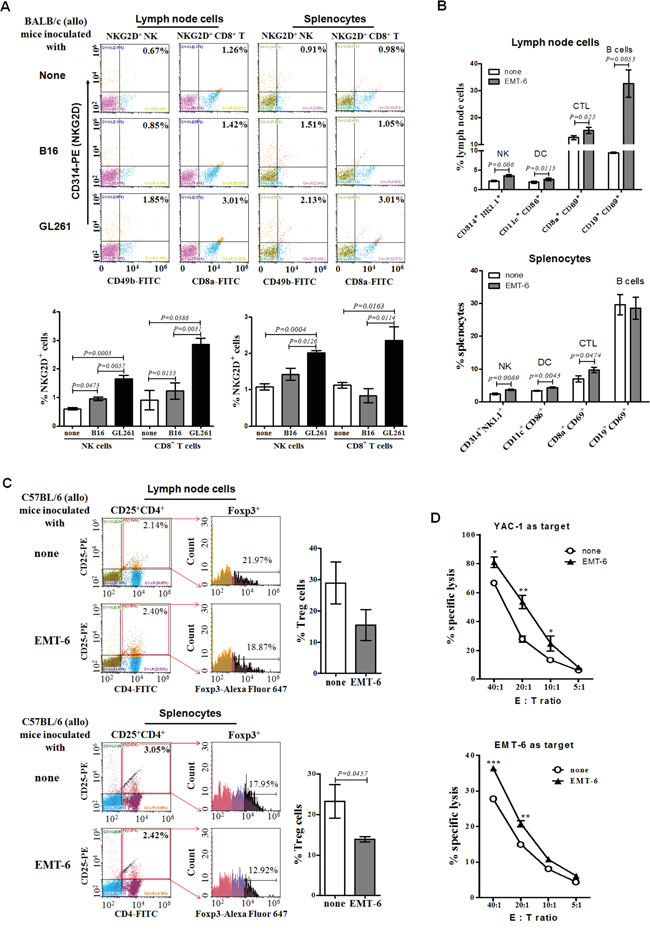 Percentages and cytotoxicity of lymph node cells and splenocytes from allogeneic tumor-bearing mice.