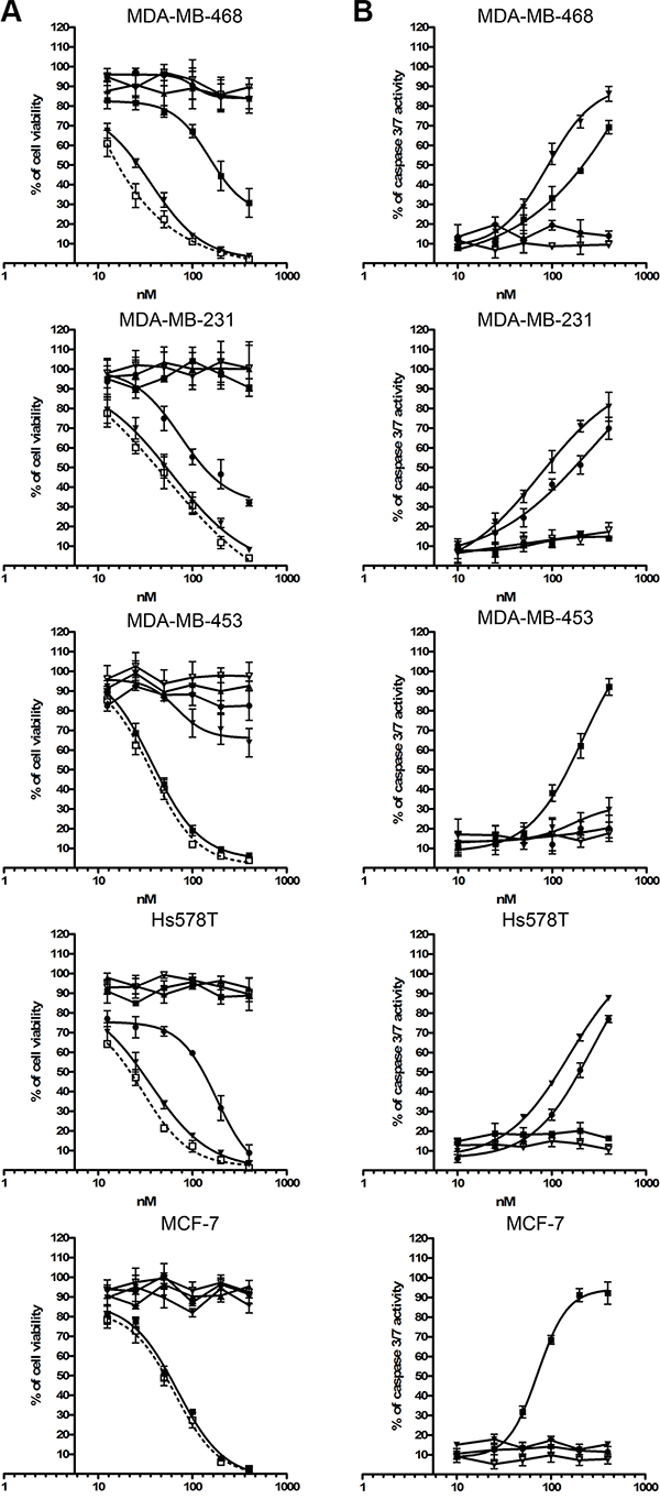 Toxic activity of photoimmunotheranostic agents against four TNBC cell lines and MCF-7.