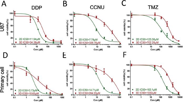 Glioma cell responses to chemotherapeutics.