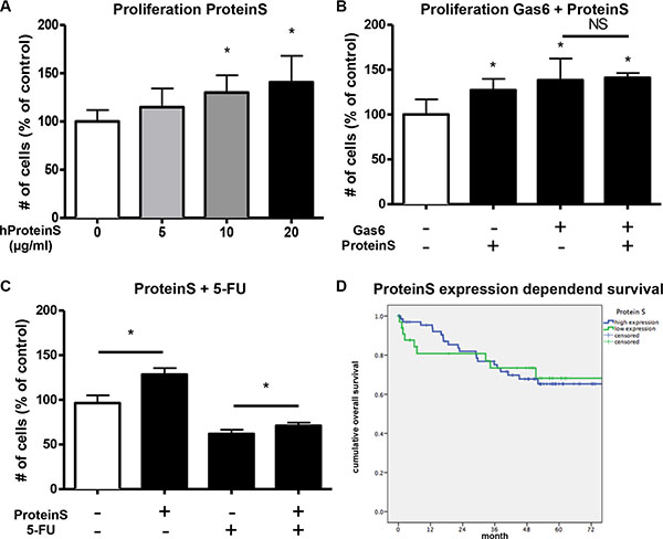 ProteinS increases proliferation and chemoresistance in vitro.